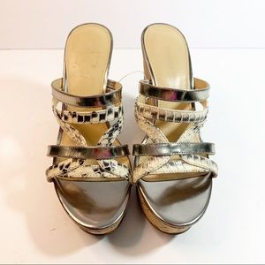 Snake Print Wedges in Silver